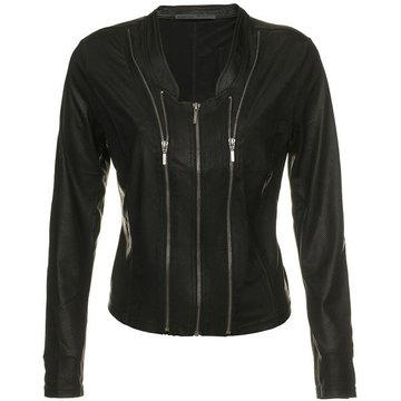 One Two Luxzuz zwart Athena suède coated jacket met ritsjes.