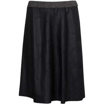 One Two Luxzuz Madelon Coated Suede Skirt Zwart
