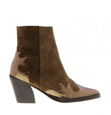 Tango Ella oblique 12-j cognac suede/bronze western boot