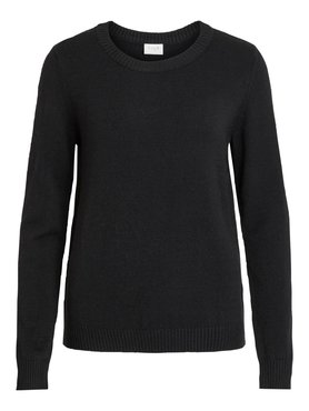 Vila Viril O-Neck L/S Knit Top Black