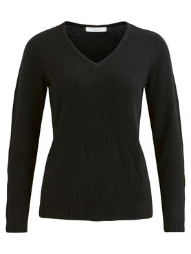 Vila Viril V-Neck L/S Knit Top Black