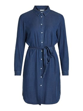 Vila Vibista Denim Belt Dress Dark Blue Denim