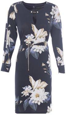 K-Design jurk R862 met grote witte bloemen en gouden details