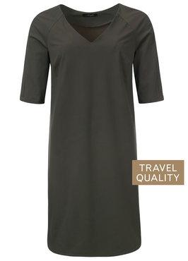 Dayz Ame - army 1/2 mouw jurk met V-hals