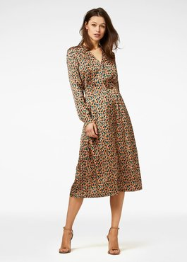 Freebird Stine Brown Midi Dress Long Sleeve Art