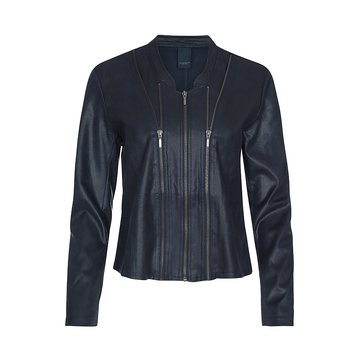 One Two Luxzuz Dark Navy Athena suède coated jacket met ritsjes.