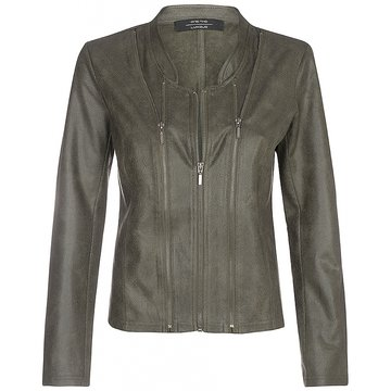 One Two Luxzuz Army Athena suède coated jacket met ritsjes