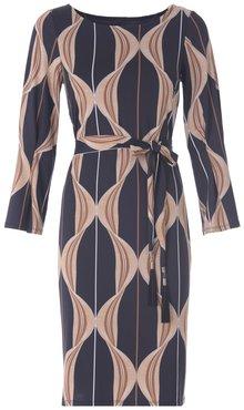 K-Design jurk R835 met ronde hals met speciale mouwen en print