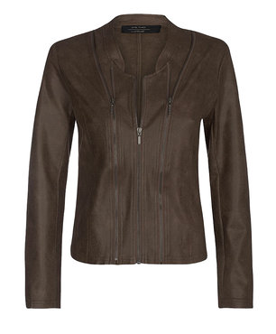 One Two Luxzuz Choco Lux Athena suède coated jacket met ritsjes