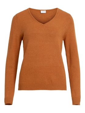 Vila Viril V-Neck L/S Knit Top Pumpkin Spice MELANGE