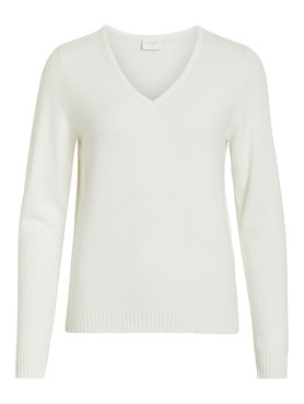 Vila Viril V-Neck L/S Knit Top White