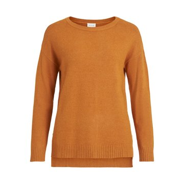 Vila Viril High Low L/S Knit Top Pumpkin Spice MELANGE