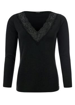 Dayz Fleurie - Zwarte top met kante V-hals