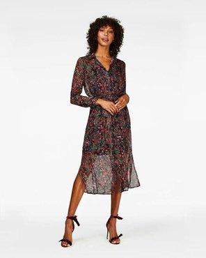 Freebird Helen Lurex Midi dress long sleeve Red