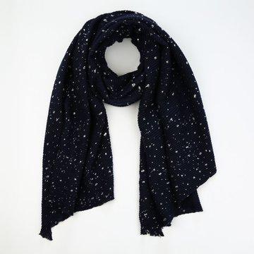 Blauwe dikke sjaal met zilveren stippen