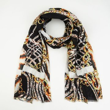 Michelle bijou sjaal, dieren print met chains 2.0