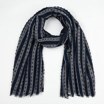 Blauwe sjaal met streep patroon