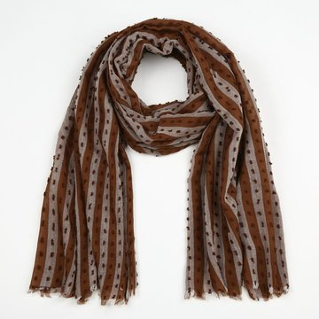 Bruine sjaal met streep patroon