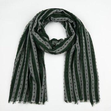 Groene sjaal met streep patroon