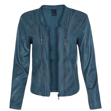 One Two Luxzuz Aque Blue Athena jacket met ritsjes.