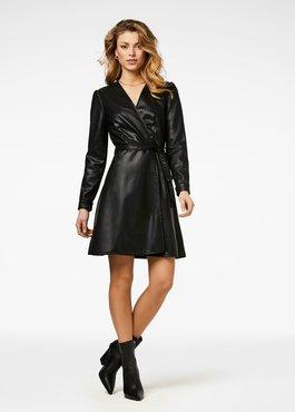 Freebird Famke Black Mini Dress Long Sleeve Pu