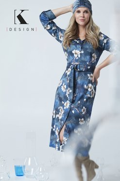 K-Design Midi jurk R834 met witte bloemen riem en print