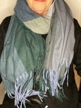 Geblokte sjaal groen/blauw