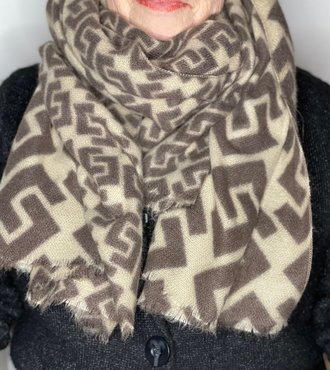 Print sjaal bruin/beige