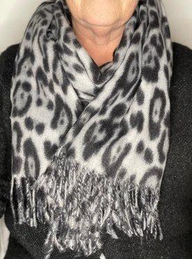 Luipaard print sjaal grijs