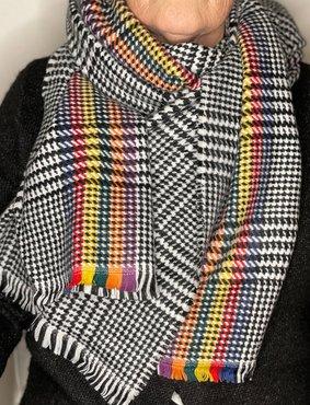 Zwart/wit gekleurde ruit patroon sjaal