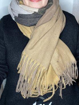 Bruin/Beige/Zwart patroon sjaal