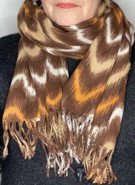 Bruine zigzag print sjaal