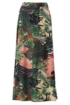 K-Design Maxi rok met grote blader print