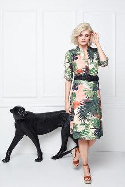K-Design Midi jurk met palmprint en riem S875-P151