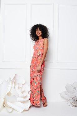 K-Design Maxi jurk, mouwloos met split S848-P110