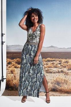 K-Design Maxi jurk V-hals met slangenprint S886-P172