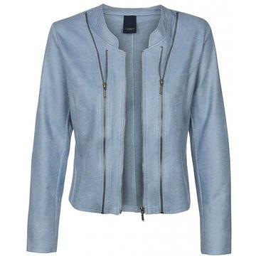 One Two Luxzuz Vintage Blue Athena jacket met ritsjes.