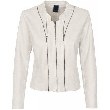 One Two Luxzuz Cream Athena jacket met ritsjes.