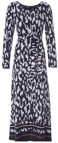 K-Design Maxi jurk R204 met ronde hals met knoop en zwart/wit print