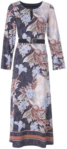 K-Design Maxi jurk R875 met bruine blader print met  riem