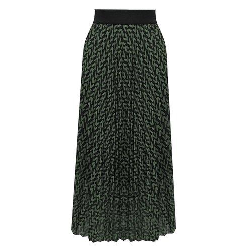 Flirt Lange plissé V-print groene rok