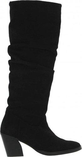 Ella oblique 14-b high black suede wrinkle boot - black wood heel/sole