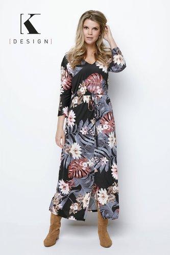 K-Design Maxi jurk R826 met V-hals met print