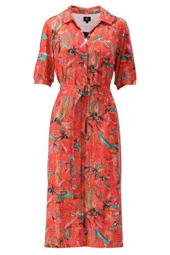 K-Design Koraal polo jurk met riem S847-P110
