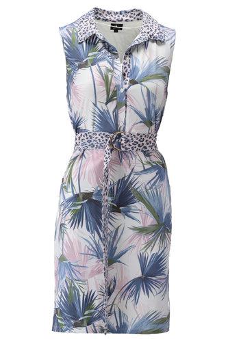 K-Design Mouwloze jurk met luipaard motief S891-P149