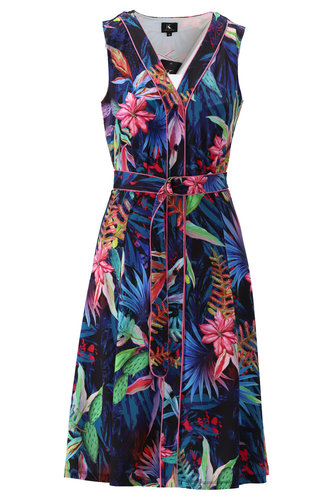 K-Design Mouwloze jurk met fleurige print S870-P129