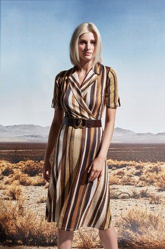 K-Design Streep overslag jurk S830-P156