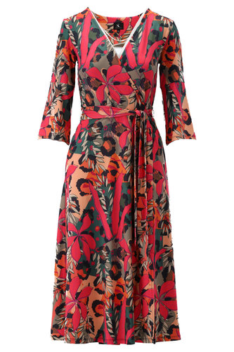 K-Design Midi jurk met riem en print S893-P106