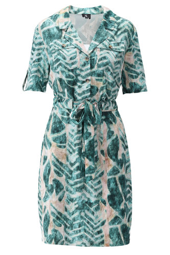 K-Design Korte mouwen jurk groen met zakjes  S811-P159